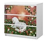 Set Möbelaufkleber für Ikea Kommode MALM 3 Fächer/Schubladen Kinderzimmer Einhorn Pegasus weiss Pony Pferd Kat2 Blumen ML3 Aufkleber Möbelfolie sticker (Ohne Möbel) Folie 25C2655