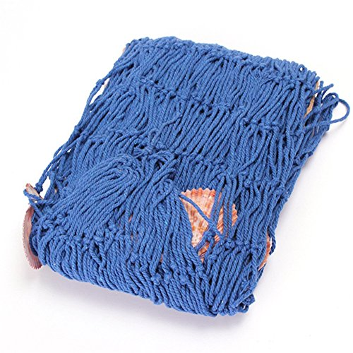 """IROCH Stile Mediterraneo Fish Net Wall Hanging nautico decorativo cotone Rete da pesca con conchiglie per la decorazione domestica, partito, ristorante e altro - decorativo Usa 39 """"x 79"""" (blu)"""
