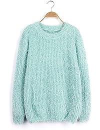 Dehutin Mujer Corto Mohair Suéter Color del caramelo Suelto Prendas de punto Para invierno