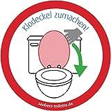 4x Bitte Klodeckel zumachen (rund) - Klodeckel runter: Toiletten bzw. WC Aufkleber aus der Saubere Toilette-Serie