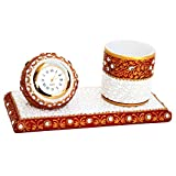 KUNDAN STUDDED MARBLE CLOCK AND PENHOLDE...