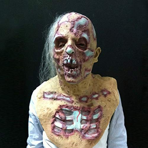 ASOSMOS Halloween Prop Walking Dead Latex Maske voller Kopf Horror Zombie Masken Kostüm Party Dekoration (Leicht Reinigen Zu Halloween-kostüme)