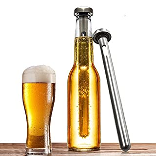 Airby® Set of 2 Food Grade 304 Stainless Instant Beer Chiller Stick with Airtight Silicone Seal for Rapid Chilling and Keeping Beer Cold, Sleek Silver