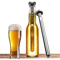 Airby® Juego de 2 Grado de comida 304 Inoxidable Cerveza instantánea Chiller Enfriadores Stick Con sello hermético de silicona Para Rapid Chilling Y mantener la cerveza fría, plata lisa