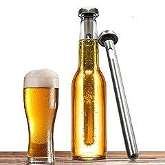 Idea Regalo - Airby Birra Refrigeranti,Set da 2 Commestibile 304 Refrigeranti Riutilizzabili Bacchetta in Acciaio Inox per con Airtight Seal Silicone Rapid Chilling e Mantenendo Birra Refrigerant