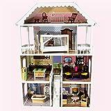 TikTakToo XXL Puppenhaus aus Holz MDF Wooden Doll Haus mit Möbeln 4 Etagen - HÖHE 112 cm Puppenstube aus Holz mit Möbel