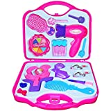 Babytintin™ Fashion Girl Beauty Set Make up Toy Pretend Play Girls Toys Set, Makeup Toy with Mirror Hairdryer and Styling Accessories Pink for Kids Birthday Gift Color And Design Vary Pack To Pack