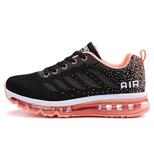 BETY Herren Damen Sportschuhe Laufschuhe mit Luftpolster Turnschuhe Profilsohle Sneakers Leichte Schuhe Black Orange 37