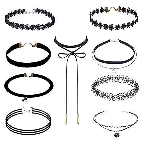 Memphis Reans Choker Halsketten Set Velvet Halskette Tattoo Halsband Schwarz Halsband (005 / 9 Stück)