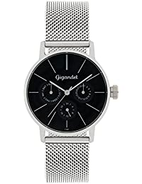 Gigandet Quarz Damen-Armbanduhr Minimalism Multifunktion Uhr Datum Analog Edelstahlarmband Schwarz Silber G38-006