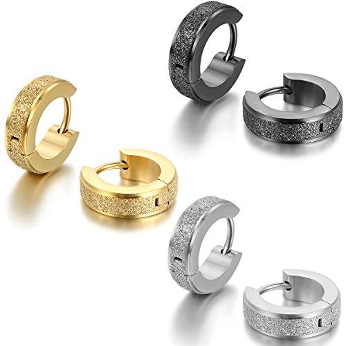 JewelryWe Schmuck 3 Paare Herren Damen Ohrringe, Edelstahl, Sandgestrahlt Creolen Hoop Huggie Ohrstecker, Silber Schwarz Gold