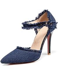 Le Printemps et l'été Un Grand Nombre de Femmes à Talons Hauts Chaussures Femmes Paquet Baotou Sandales Denim avec Astuce