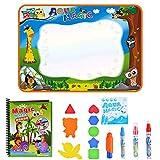 Wuudi Estera del Doodle del Agua, (39.4 x 27.5in) Estera de Dibujo del Arco Iris 7 Colores Bloc de Notas con Libro de Agua, 4 Pluma mágica - El Mejor Juguete de Aprendizaje para niños pequeños Edad