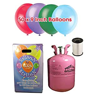 Disposable Helium Gas Cylinder with 50 Assorted Balloons and Curling Ribbon included