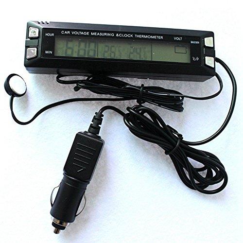 GAOHOU® 3 in 1 Auto Digital LCD Temperatur Thermometer & Uhr Spannungsmessgerät Voltmeter Monitor Schwarz