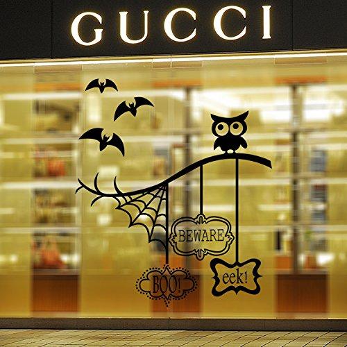 Global Brands Online KST-11 Halloween-Baum-Netz-Falle PVC-Wand-Aufkleber-Wohnzimmer-Schlafzimmer-Dekoration-Wand-Aufkleber