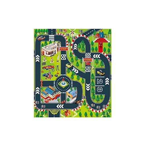 Holywin Haus Road Playmat Kids Carpet Playmat zum Spielen mit Autos und Spielzeug - Panel-grüne Vorhänge Zwei