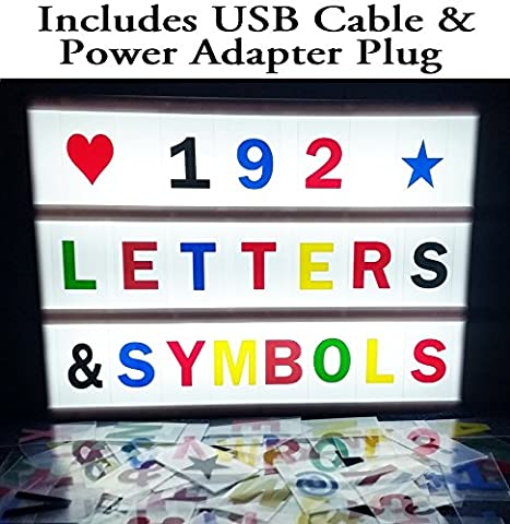 I-Glow Tec A4 Size LED Cinematic Light Box with 192 Pieces of Black & Coloured Letters, Numbers & Symbols Pack – Comes with USB Cable & Extended USB Cable & DC 5V Main Power Adaptor Plug