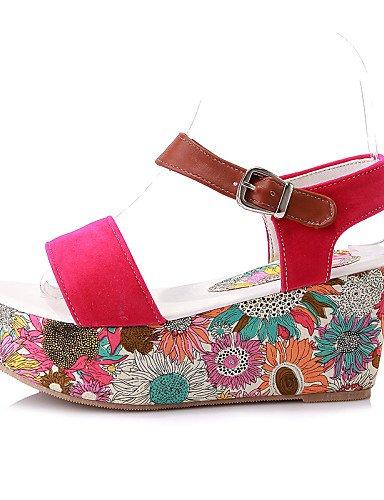 UWSZZ Die Sandalen elegante Comfort Schuhe Frau - Sandalen - Formale/Casual - Kletterpflanzen/Bequem - Plateau - Kunstleder - Schwarz/Gelb/Rot Red
