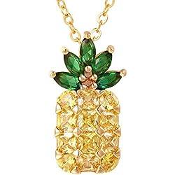 FOCALOOK Colgante piña collar de oro tono mujer