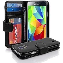 Samsung Galaxy S5 / S5 NEO Funda Estilo Libro de Cuero Sintético en NEGRO ÓXIDO de Cadorabo – Cubierta Protectora con Cierre Magnético y 3 Tarjeteros – Protección Carcasa Caja Etui Case Cover