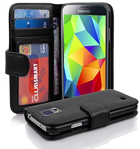Cadorabo DE-100937 - Custodia a libro per Samsung Galaxy S5 / S5 NEO, con 3 scomparti per tessere, colore: Nero