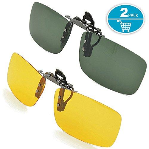 Preisvergleich Produktbild Sonnenbrille Aufsatz,  Splaks 2-Stück Clip on Polarisiert Clip polarisierte Sonnenbrille Flip up Sonnenbrille Clip Gegen Licht für Frauen und Männer(Dunkelgrün+Gelb)