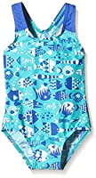 Speedo Babies Essential All Over 1-Piece Swimsuit - Funny Fish Deep Prism/Bali Blue, Size 2