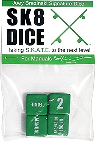 Sk8 Dice Brezinski Manual Game Set Green Skate Toys