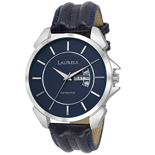 Laurels-Invictus-Blue-Dial-Day-and-Date-Function-Wrist-Watch-For-MenWith-Additional-Strap