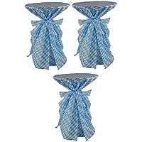 Sensalux, 3 Stehtischüberwürfe / die preisgünstige Alternative zur Husse(nicht genäht) abwischbar - wiesn, Oktoberfest, blau weiß für Tischdurchmesser 60-70 cm