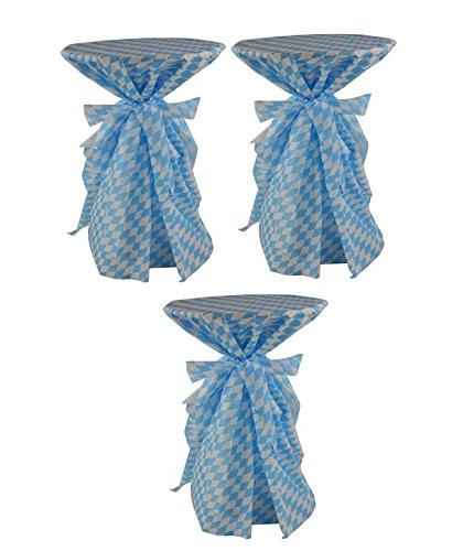 Sensalux, 3 Stehtischüberwürfe/die preisgünstige Alternative zur Husse(Nicht genäht) abwischbar - Wiesn, Oktoberfest, blau weiß für Tischdurchmesser 60-70 cm