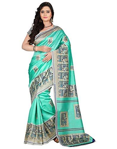 e-VASTRAM Women\'s Art Mysore Printed Silk(NS3B_Green)