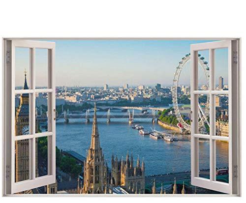 3D-Effekt Fensteransicht Wandaufkleber London Eye Wandtattoo Rahmen Wandeffekt Wohnkultur Schlafzimmer Wohnzimmer Küche 40 cm x 60 cm