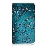 ISAKEN Coque pour Samsung Galaxy Note 4, Etui pour Samsung Galaxy Note 4, PU Cuir Flip Magnétique Portefeuille Etuiavec Stand Support et Carte de Crédit Slot (Fleur Bleu)