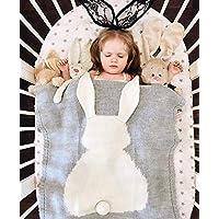 GoMaihe Baby Knit Blanket, 110×75cm Cute Newborn Crochet Quilt, Swaddle Wrap Stroller Cover Nursing Blanket, Sleep Sack Stroller Birthday for Boys and Girls, Rabbit