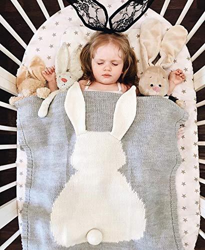 Gomaihe copertina neonato morbida, 110×15cm coperta neonato lana uncinetto con carino orecchie coniglio, estivo lenzuola carrozzina neonato copertine avvolgente culla, regalo perfetto per bambino