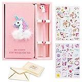VAMEI Filles Pink Unicorn Journal Stylos À bille Set Cahiers Lovely & Pretty Cadeaux Pour Faveur De Fête D'anniversaire, Occasions De Graduation (Rose et Bleu)
