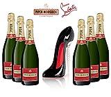 Christian Louboutin Stileto Champagnerglas + 6x Piper-Heidsieck Cuvee Brut Champagner 75cl (12% Vol) -[Enthält Sulfite]