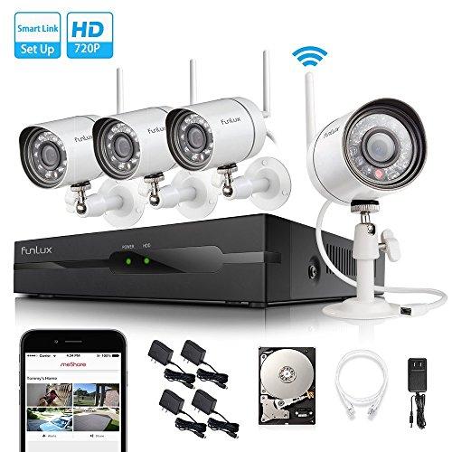 4CH 1280 x 720p HD Kamera-Sicherheitssystem mit 4-Kanal NVR und 4 Wireless IP65 IP-Kameras IR-Nachtsicht, Indoor/Outdoor, Bewegungssensor ZM-KW0004-500GB (4 Wireless-kamera-sicherheitssystem)