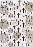 Artoz CREA motions Transparentpapier Kreuz Gold, Christliche Symbole (Kelch, Kreuz, Fisch (Ichtus), Traube, Kerze, Ähre), Silber/Gold veredelt, 21 cm x 30 cm