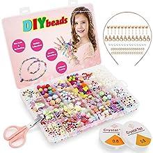 Bdwing Set di Perline Fai-da-Te per Bambini bracciali, collane, Catene, per Creare Il Tuo Set di Corde per Gioielli. Regalo di Compleanno per Ragazze, 24 Colori (Perline da infilare)