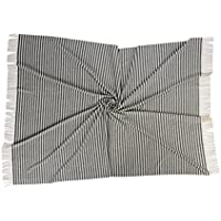 100% Kaschmir gewebte decke gestreiftes Design mit fransen. 140 x 190 cm + Fransen
