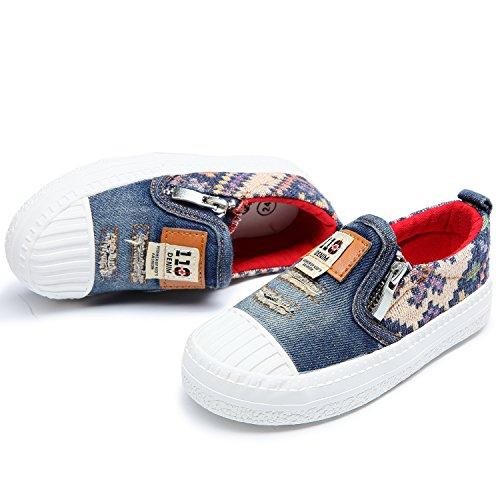Alexis Leroy Denim Unisex-Kinder Low-Top Stoffschuhe Slipper Sneakers Blau