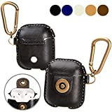A+case AirPods Case Leather Cover Accessories With Hook Keychain & Earbuds Strap Shock Resistant Full Protective Case For Apple AirPods IPhone 7 Wireless Earbuds Charging Case
