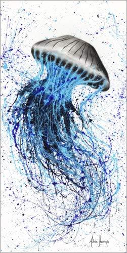 Posterlounge Alubild 90 x 180 cm: Blaue Qualle von Ashvin Harrison