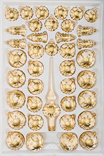 """39 tlg. Glas-Weihnachtskugeln Set in \""""Ice Champagner Goldene Schleife\""""- Christbaumkugeln - Weihnachtsschmuck-Christbaumschmuck"""