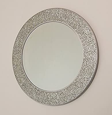 Home Treats ® Silver Mosaic Mirror 40x 40cm Round