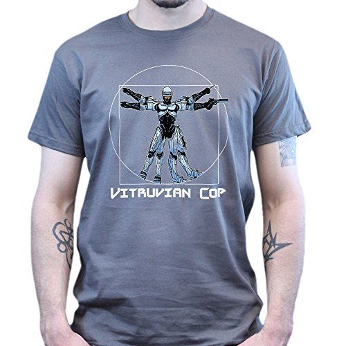 Vitruvian Classic Robot Cop Da Vinci Man T-shirt Weiß