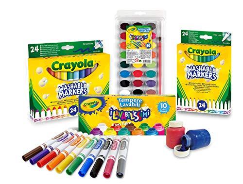 CRAYOLA Set Scorta Convenienza per disegnare e colorare Colori Super Lavabili Multicolore 7457
